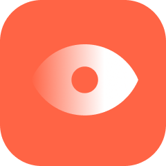 Red rounded square with an eye icon in the middle