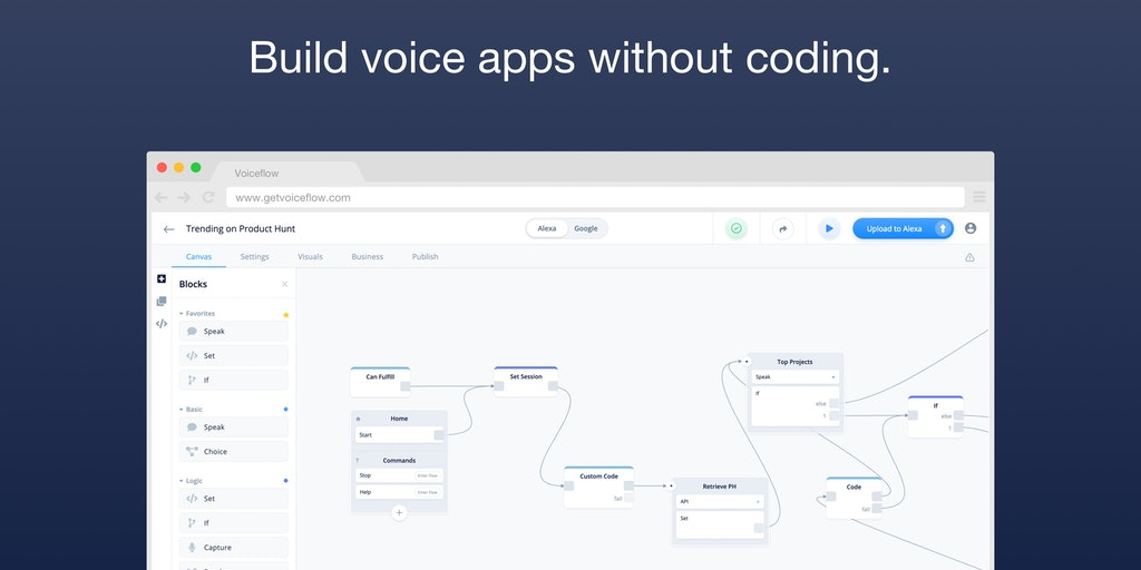 Voiceflow - Build voice apps in your browser without coding | Product Hunt