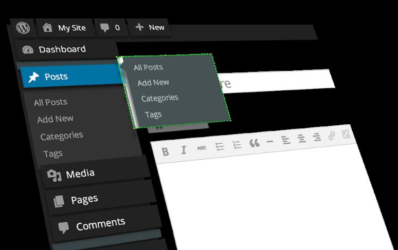 Wordpress screen mockup