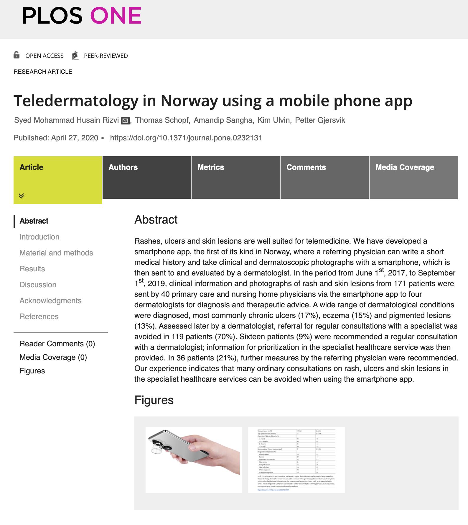 Publisert vitenskapelig artikkel om teledermatologi i Norge
