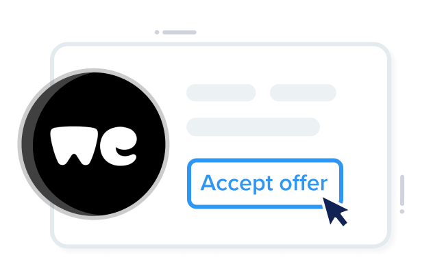 """Card showing WeTransfer company offer with call to action """"Accept Offer"""" and confetti."""
