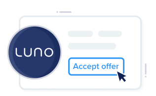 """Card showing Luno company offer with call to action """"Accept Offer"""" and confetti."""