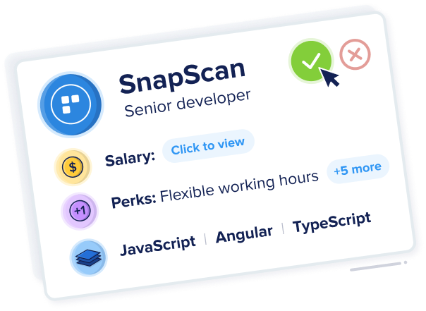 SnapScan company card showing upfront role and salary information.