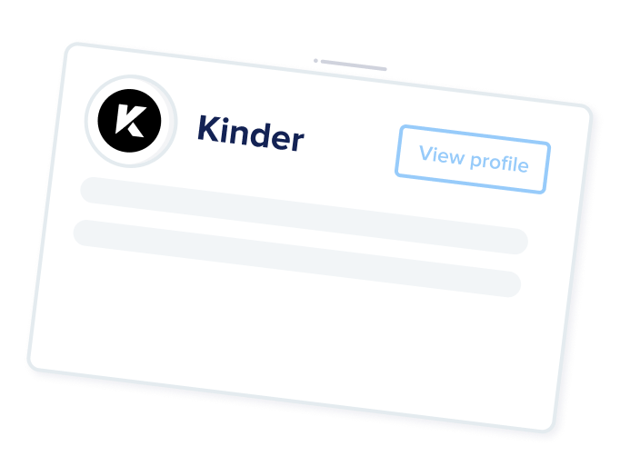 Kinder card with option for developer to view their company profile.