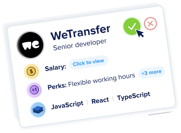 WeTransfer company card showing upfront role and salary information.