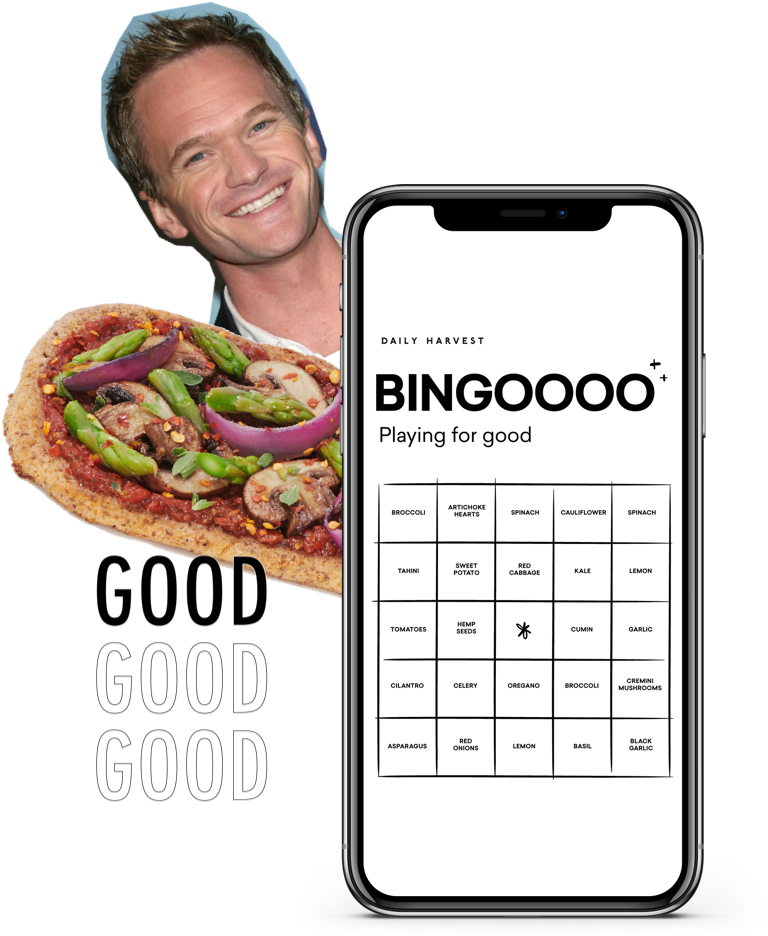 Bingo game on a phone, with NPH in the background