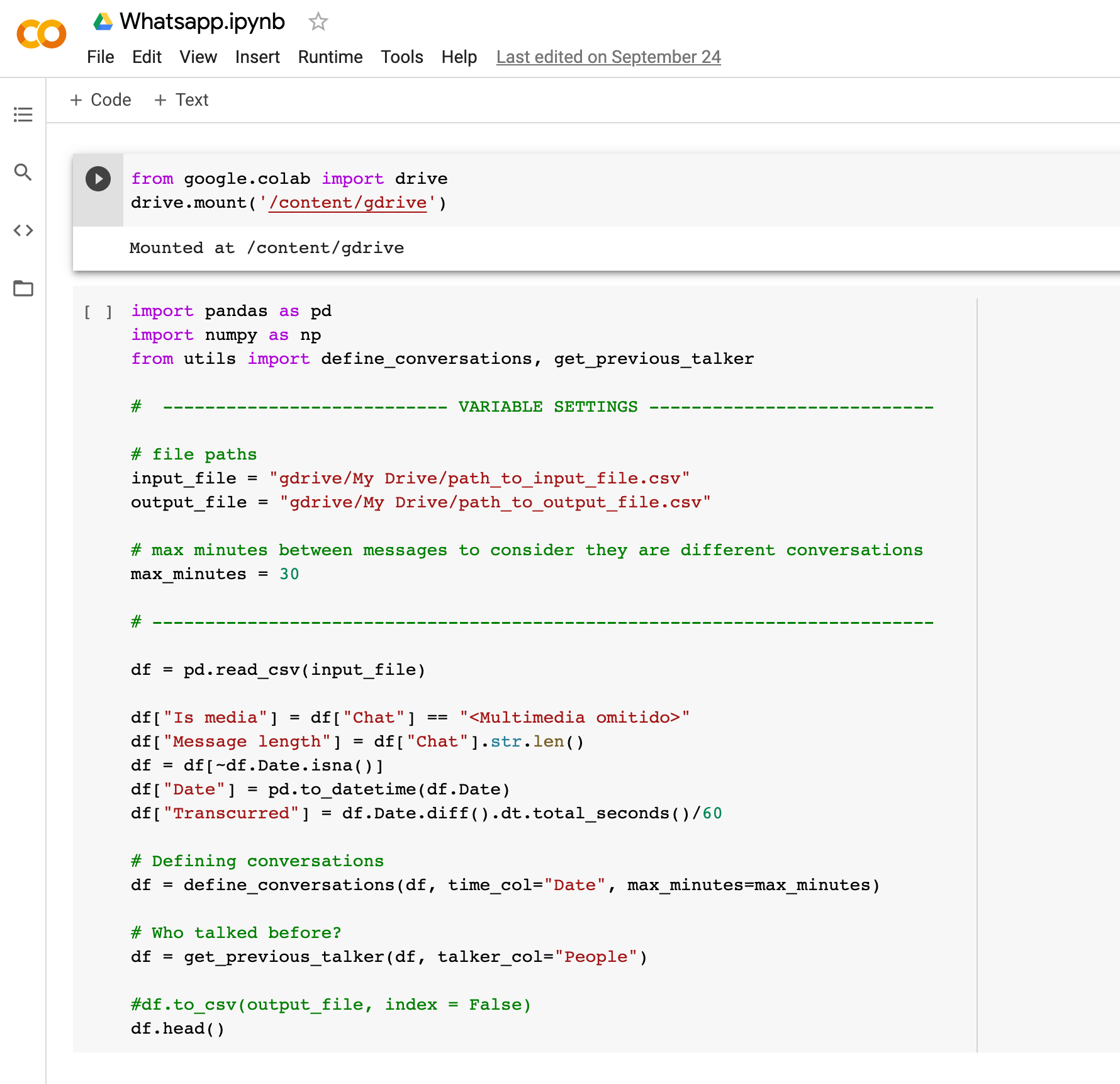 A screenshot of our Google Collab script used to preprocess WhatsApp messages gathered on participants.
