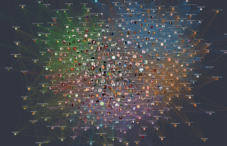 Hoy publicamos en El País 3 grafos que representan 3 mapas de cómo están conectados en redes sociales los periodistas políticos, los diputados y las cuentas de Twitter políticas más relevantes en España.
