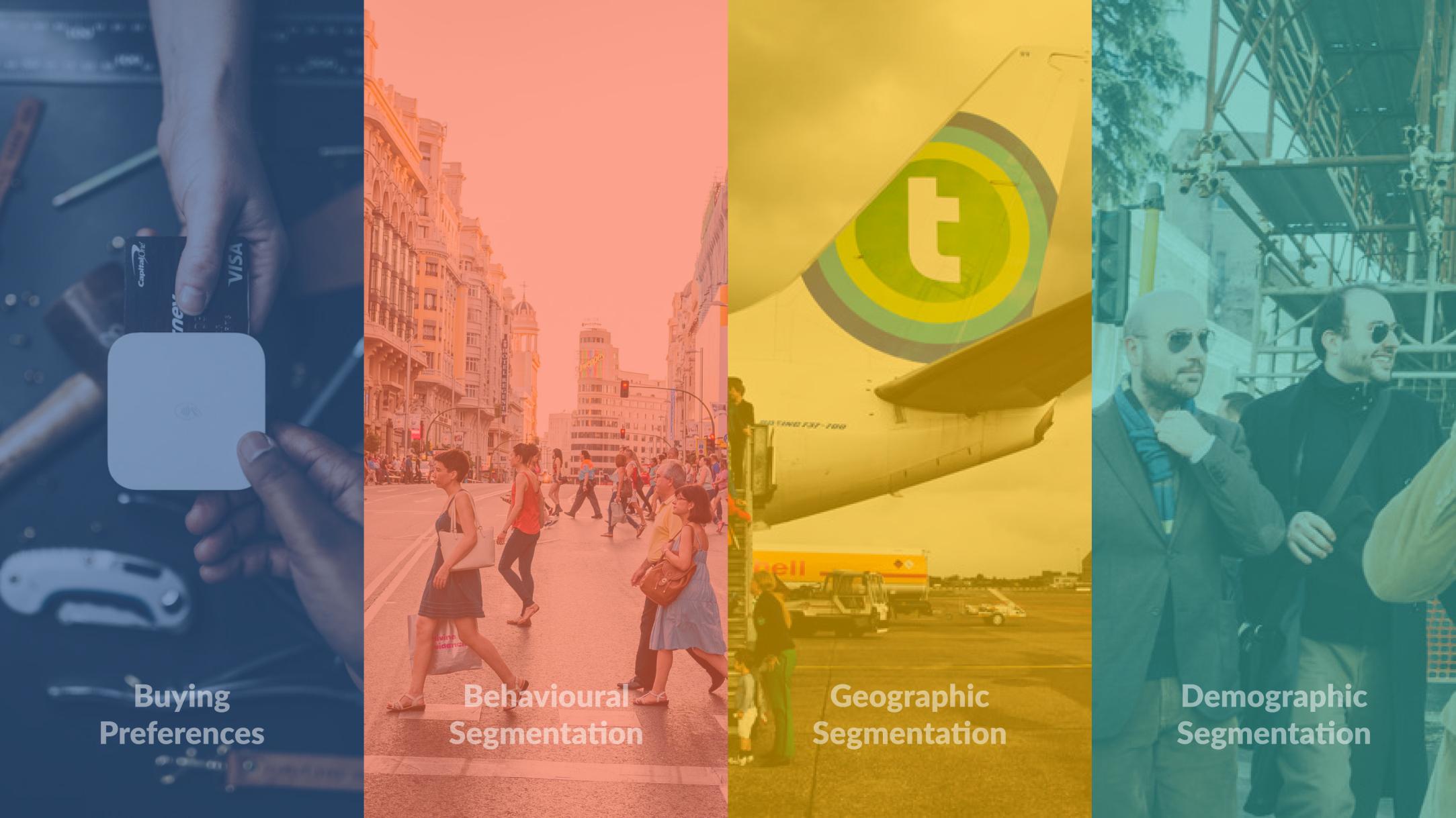 The 4 Types of Market Segmentation; Buying Preferences, Behavioural Segmentation, Geographic Segmentation & Demographic Segmentation.