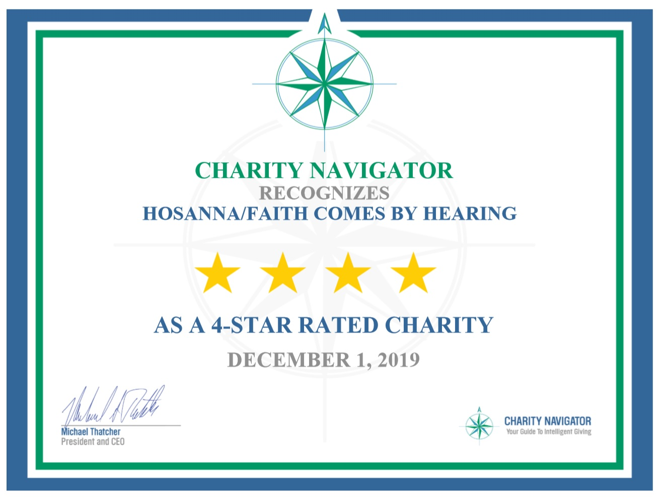 FAITH COMES BY HEARING EARNS COVETED 4-STAR RATING FROM CHARITY NAVIGATOR