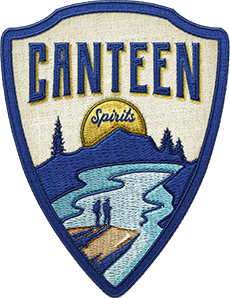 An isolated embroidered patch bearing the logo of Canteen Vodka Soda.