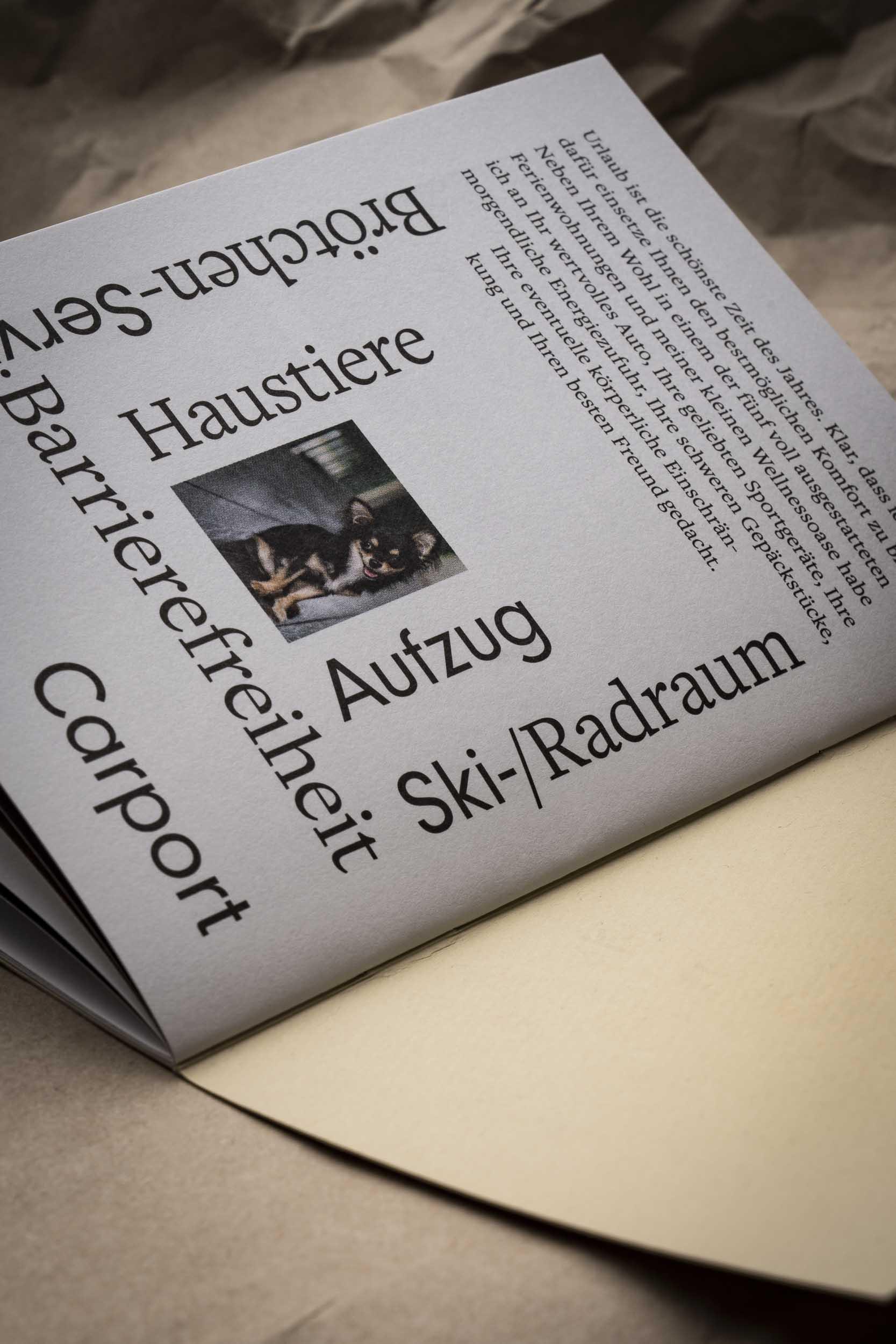 Die letzte Seite von Annas Imagebroschüre.
