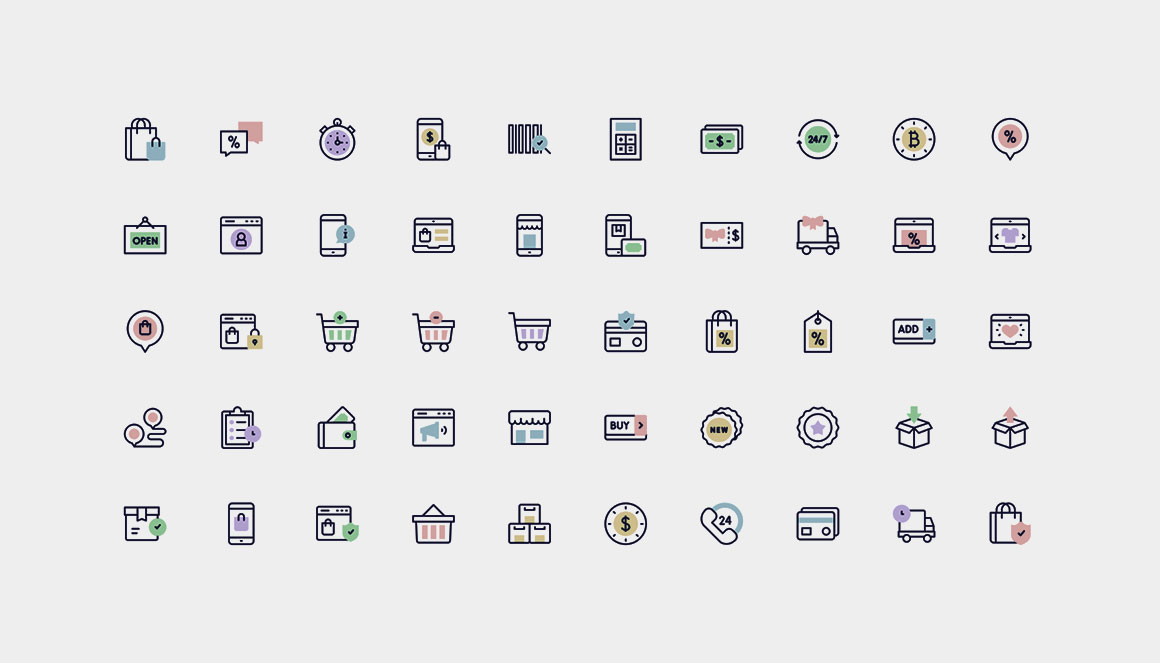 A set of 50 various vector icons from Flaticon.