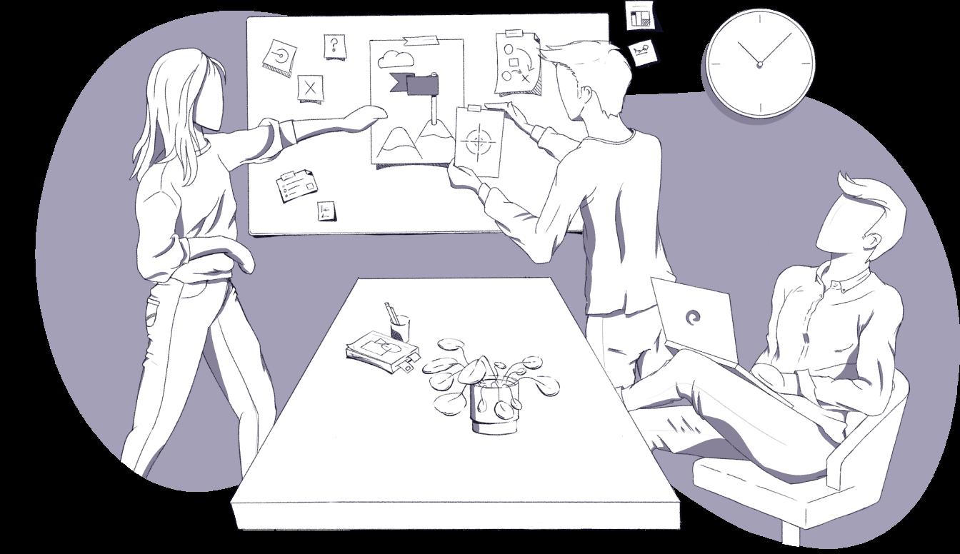 Colleagues brainstorming