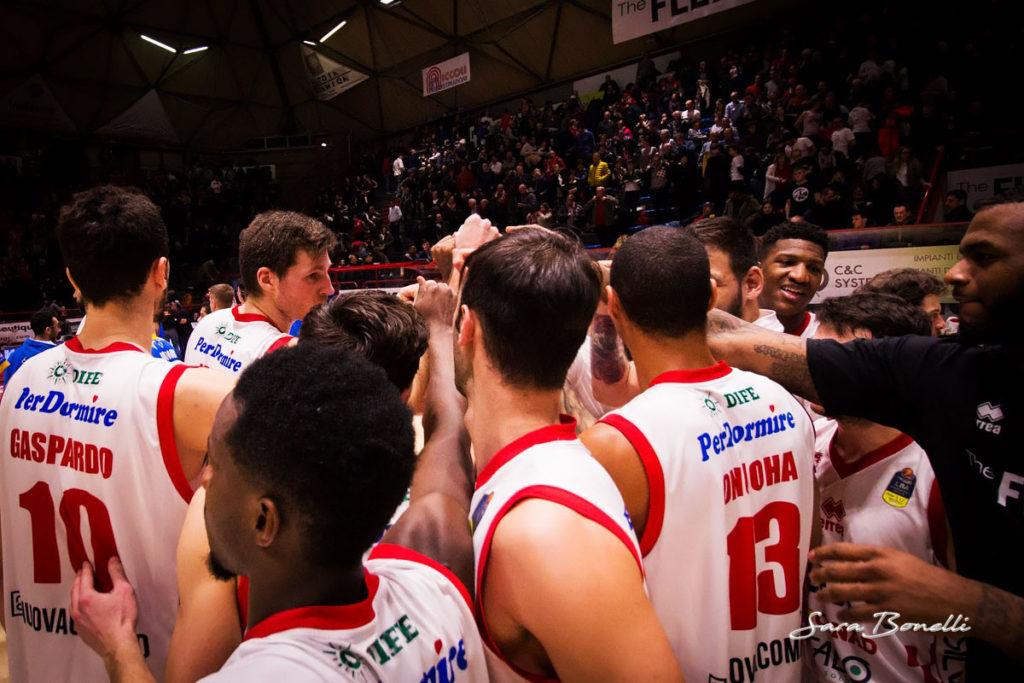 The Flexx Pistoia Basket durante una partita del girone di ritorno 2018 al Palacarrara