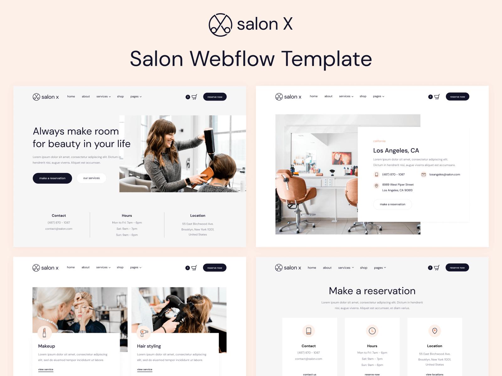 Salon Webflow Website Template