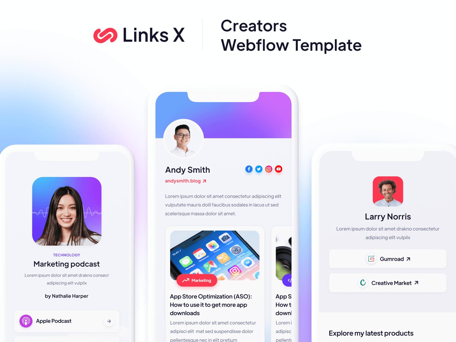 Links Creators Webflow Template