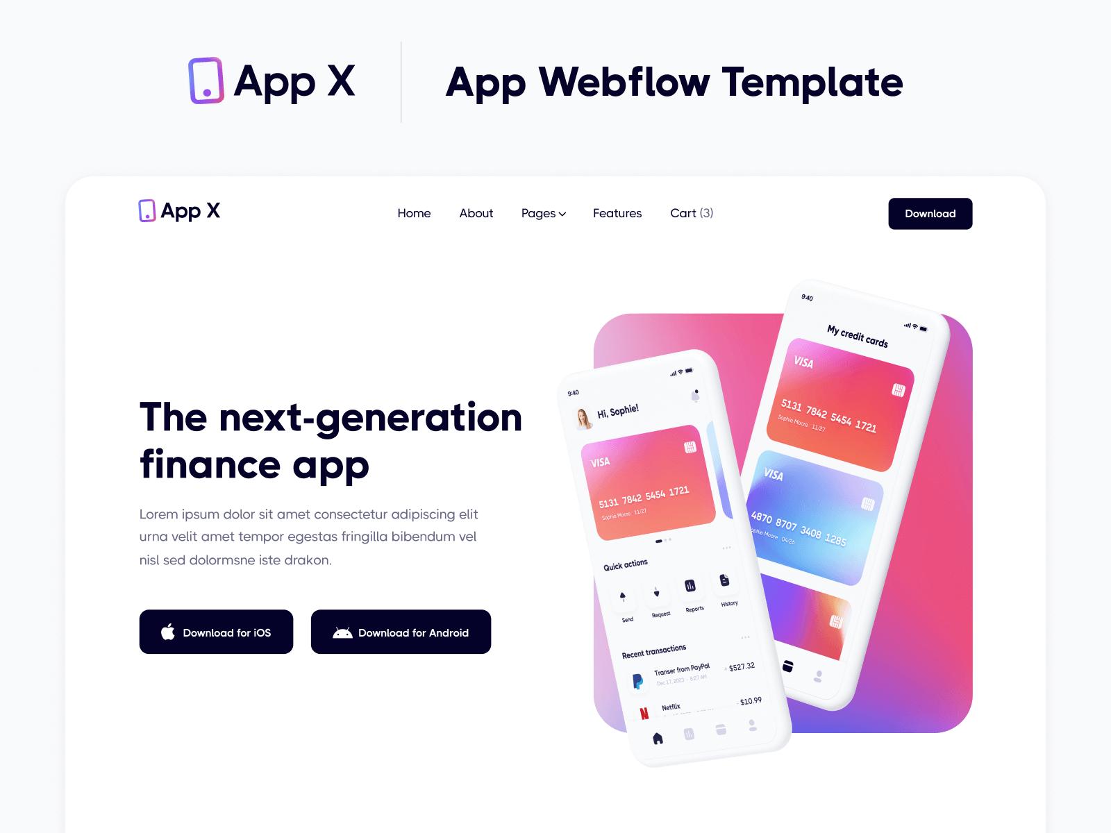 Mobile App Webflow Website Template
