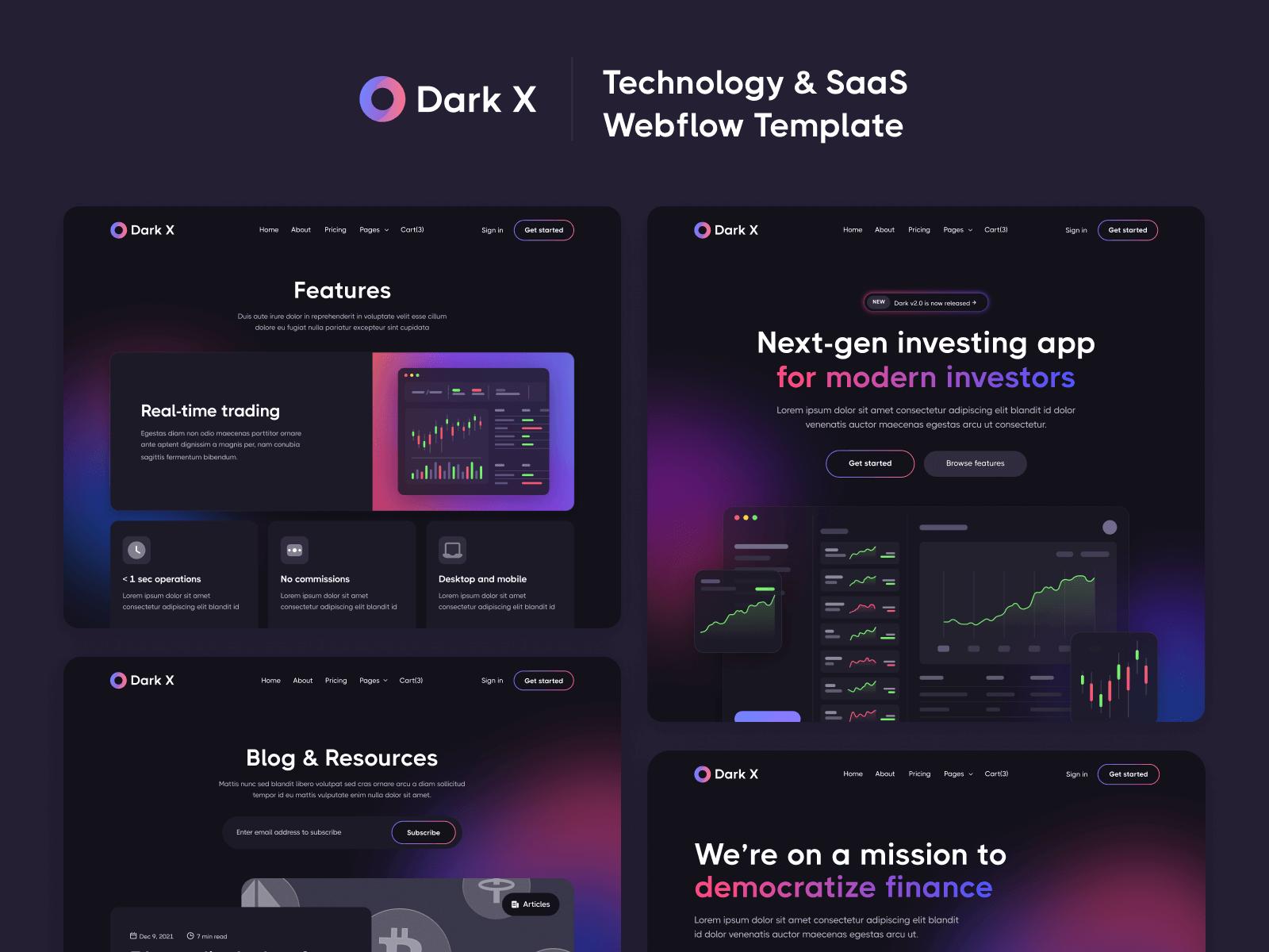 Dark Mode SaaS Webflow Template