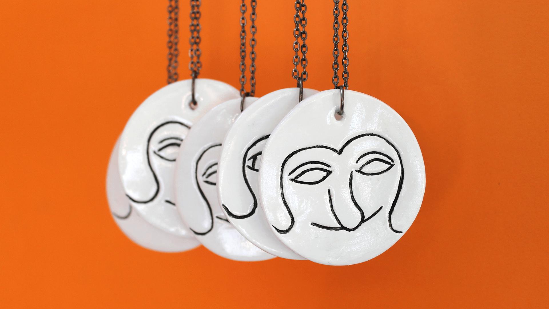 Studio Goof Julia Boehme Goof Medal Pendant Clay Ceramics Illustration Jewellery Ceramics Leipzig
