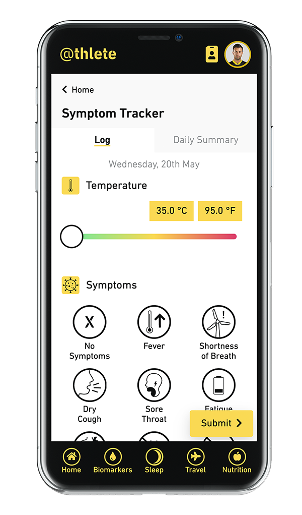 Full screen view of symptom logging screen in athlete app