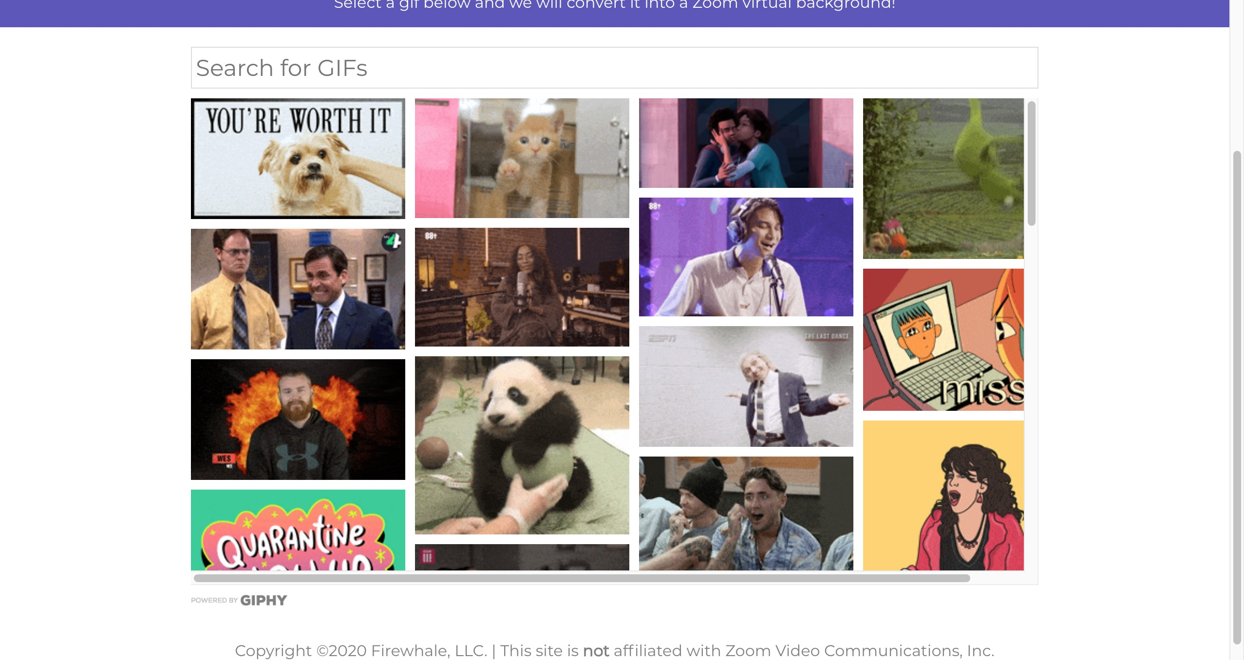 Gif2Zoom - Convert gif images to zoom virtual backgrounds.