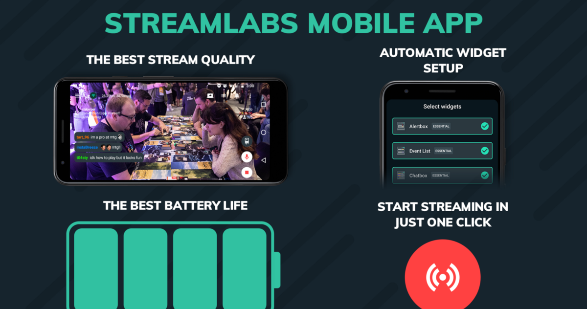 Use the Streamlabs mobile app for the highest quality mobile live stream