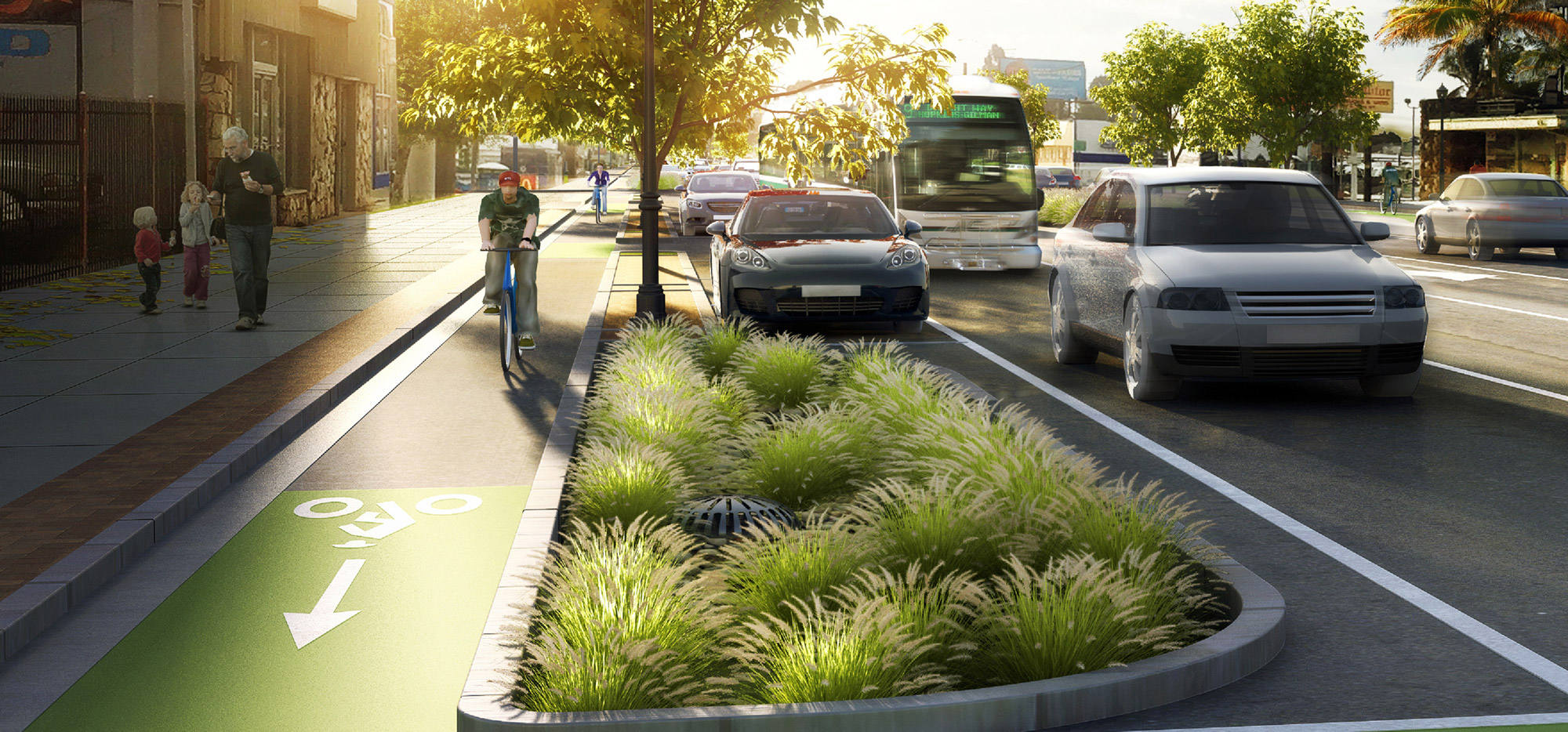 East side Class IV Bikeway with raised planter