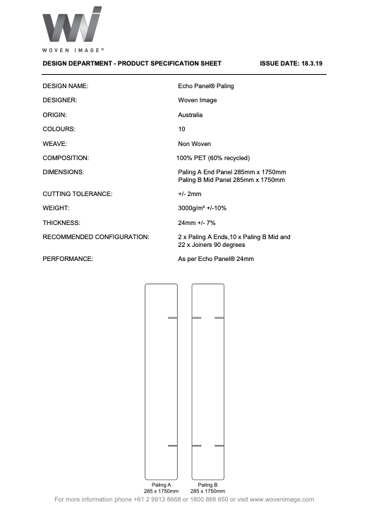 Paling Specification Sheet