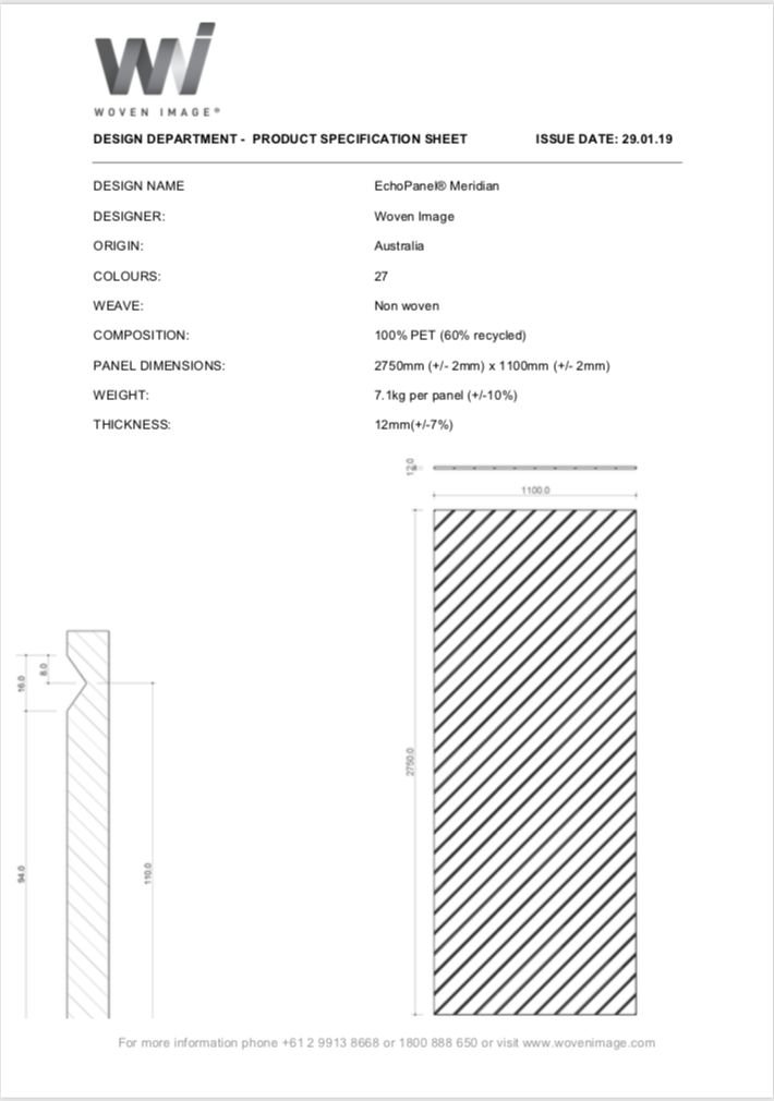Meridian Specification Sheet