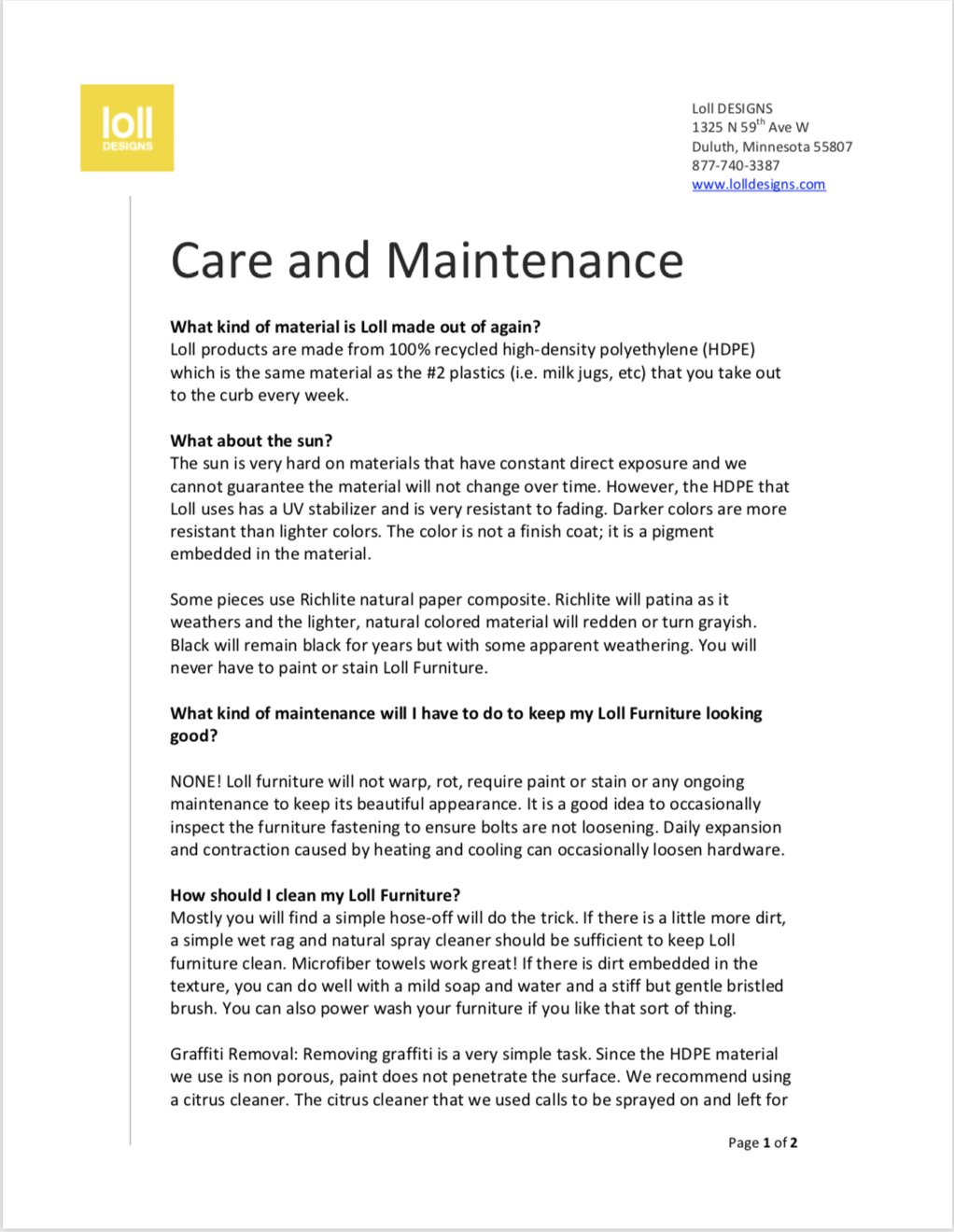 Loll Care and Maintenance Overview