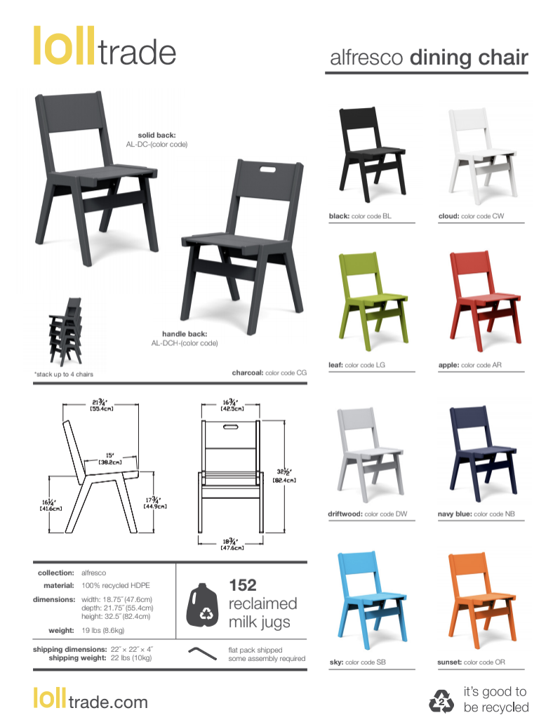 Loll designs alfresco dining chair cut sheet