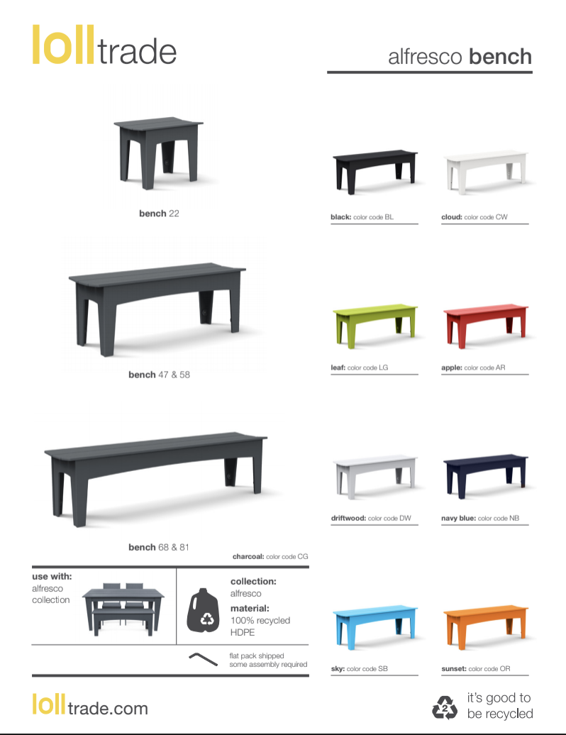 Loll designs alfresco benches cut sheet