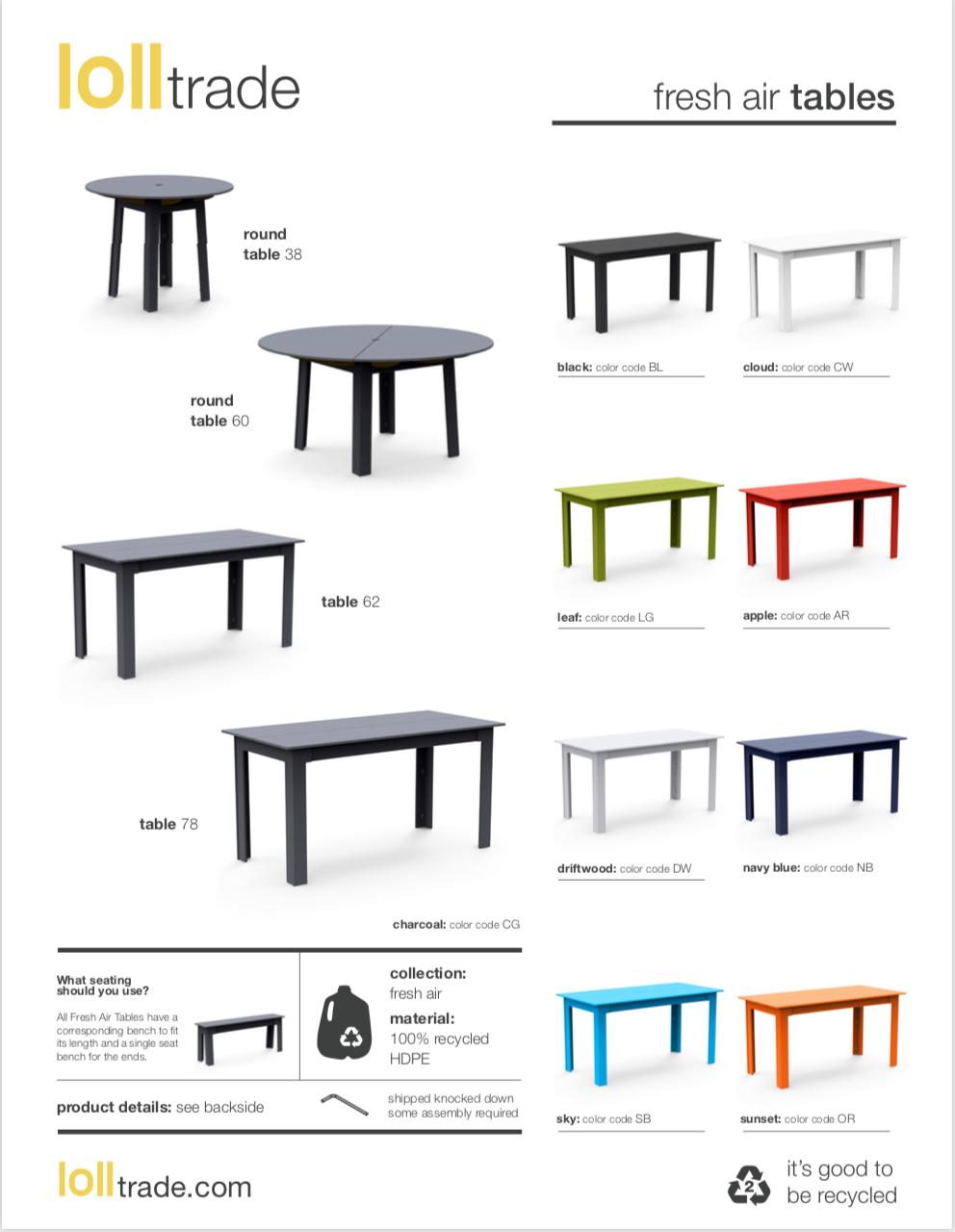 Loll Designs Fresh Air Tables cut sheet