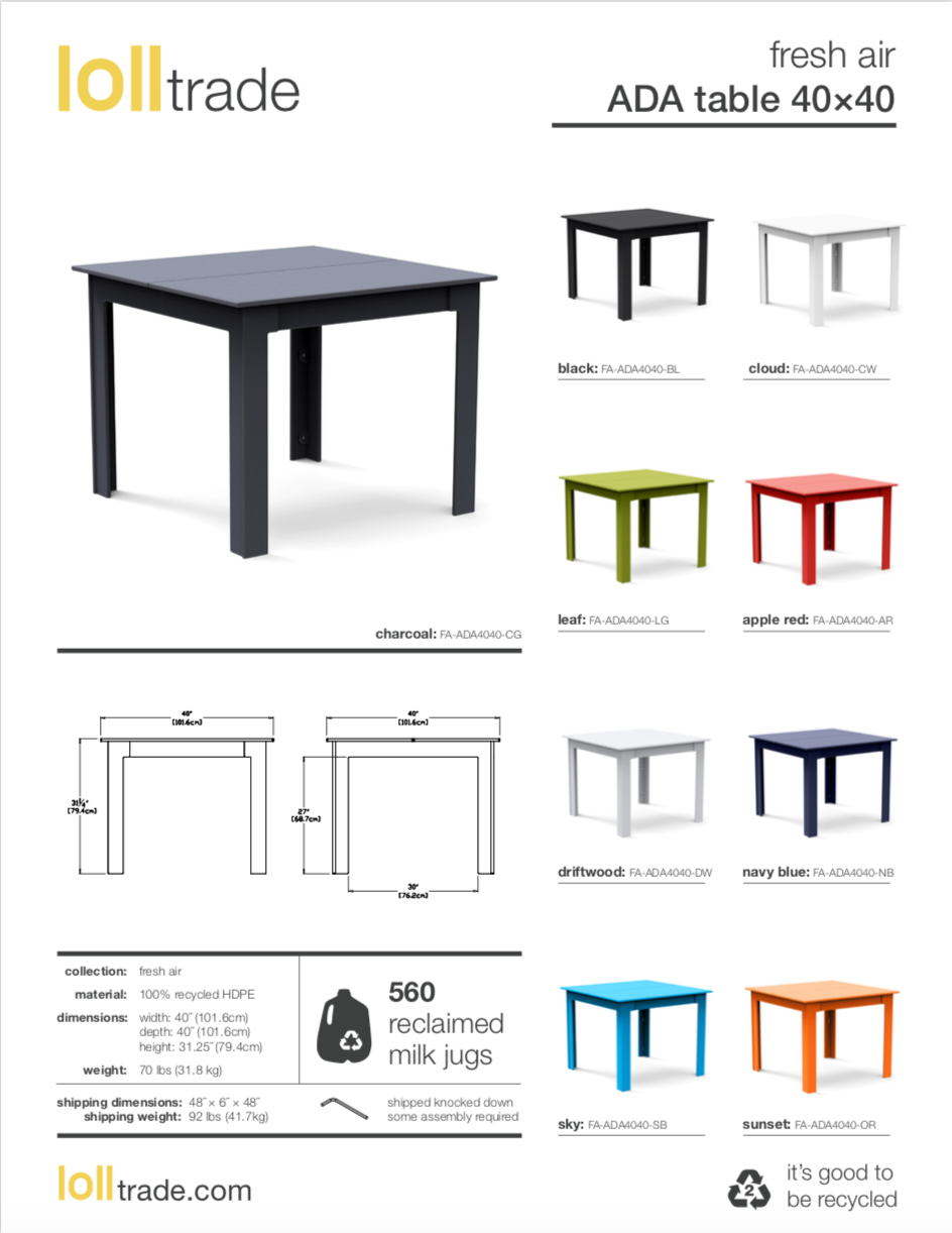 Loll Designs Fresh Air ADA Tables cut sheet