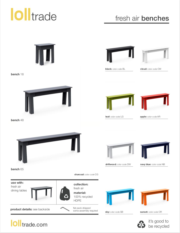 Loll Designs Fresh Air benches cut sheet