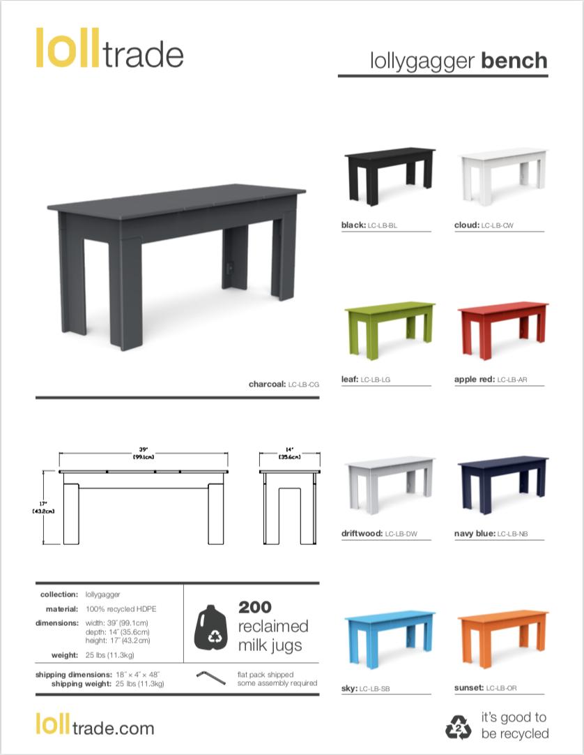 Loll Designs Lollygagger bench cut sheet