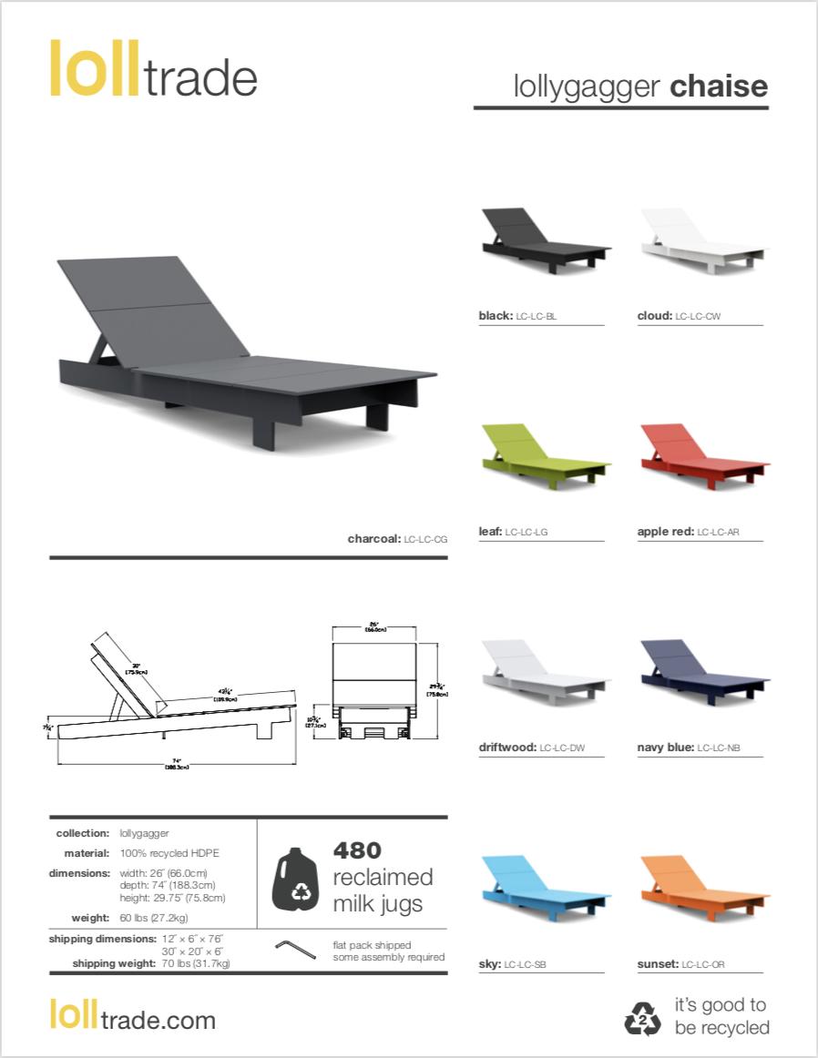 Loll Designs Lollygagger chaise cut sheet