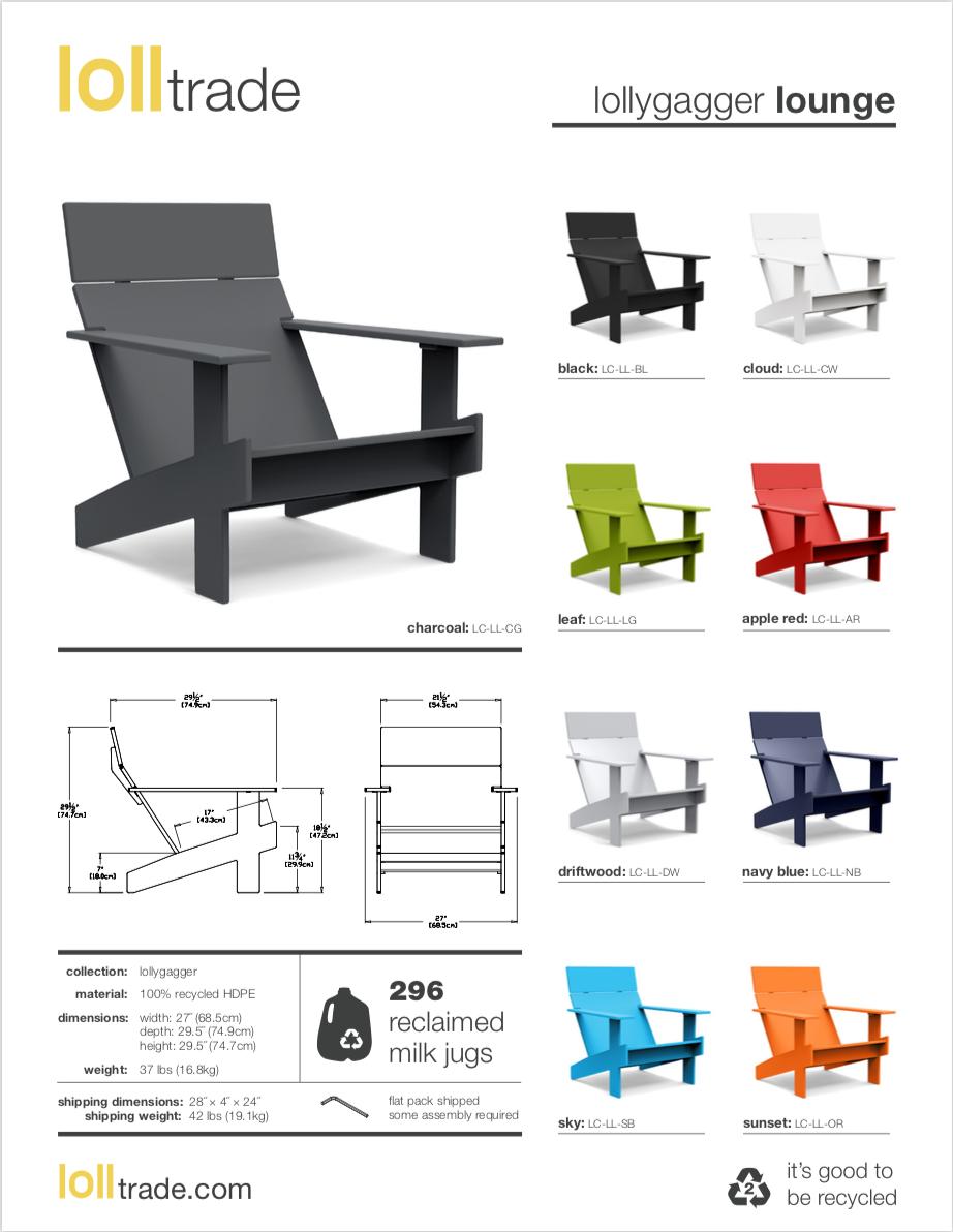 Loll Designs Lollygaggger Lounge cut sheet