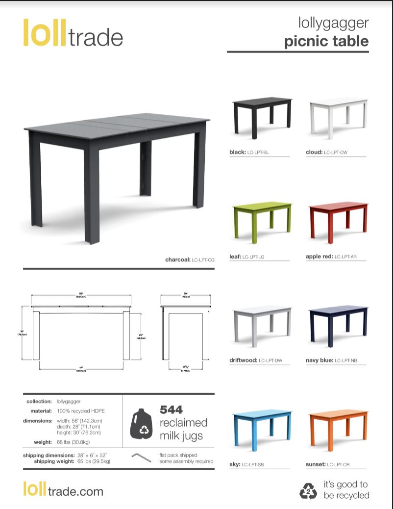 Loll Designs Lollygagger Picnic Table cut sheet
