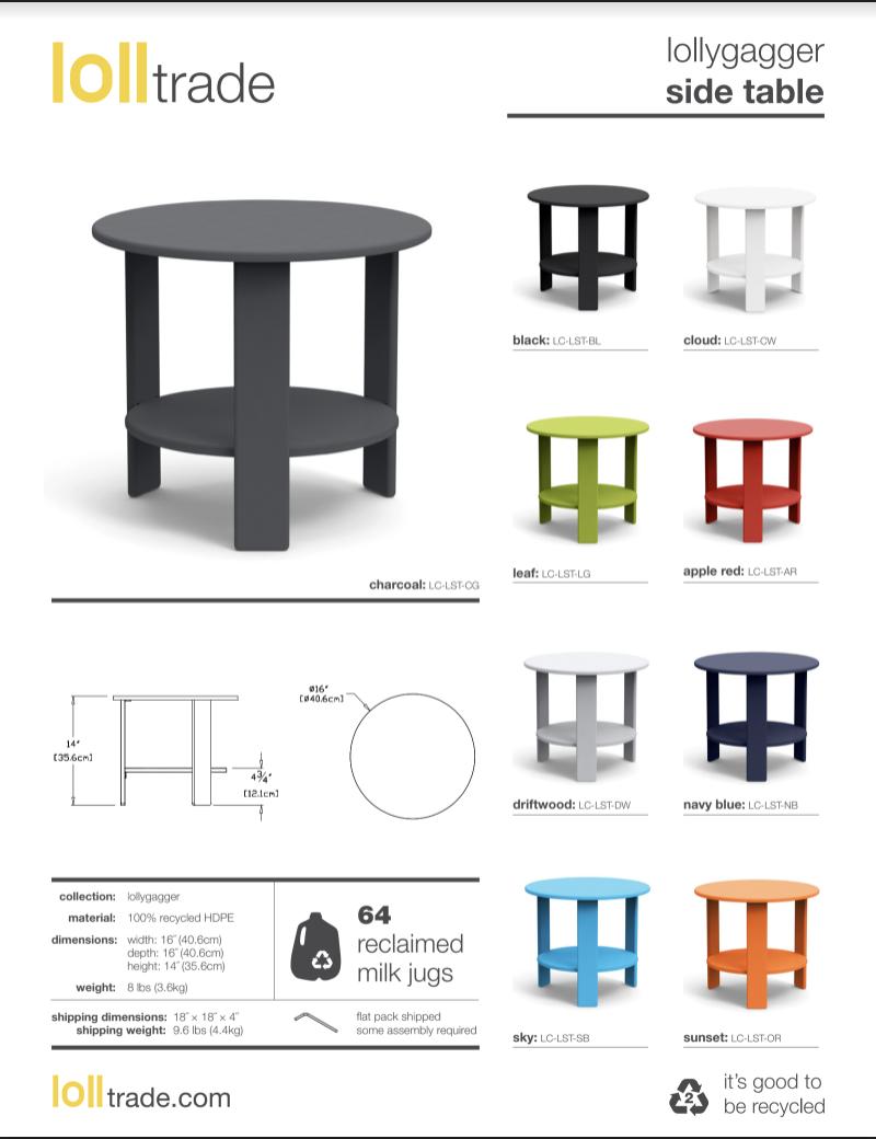 Loll Designs Lollygagger Side table cut sheet