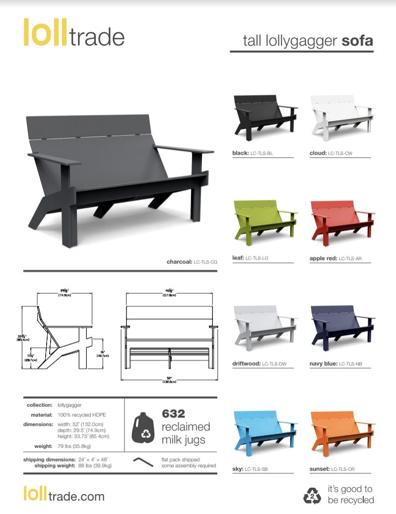 Loll Designs Lollygagger Sofa Tall cut sheet