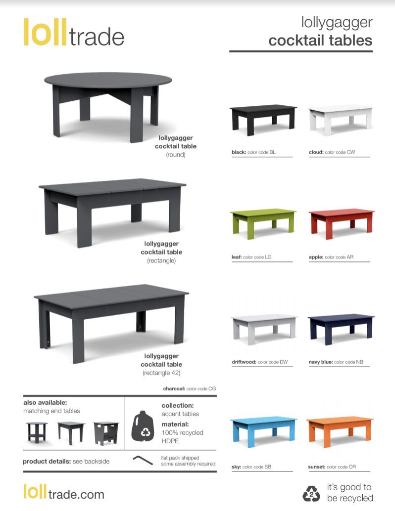Loll Designs Lollygagger tables cut sheet