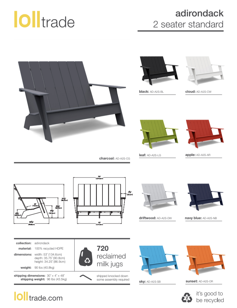 Loll Designs Adirondack 2seater bench spec sheet
