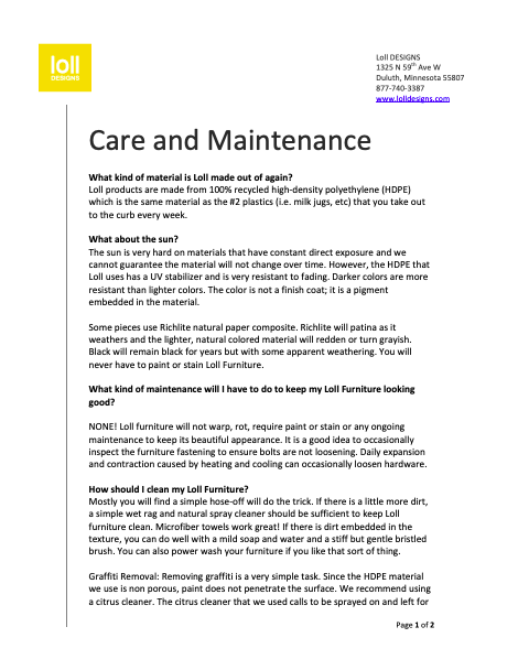 Loll Designs Nisswa Care and maintenance guide