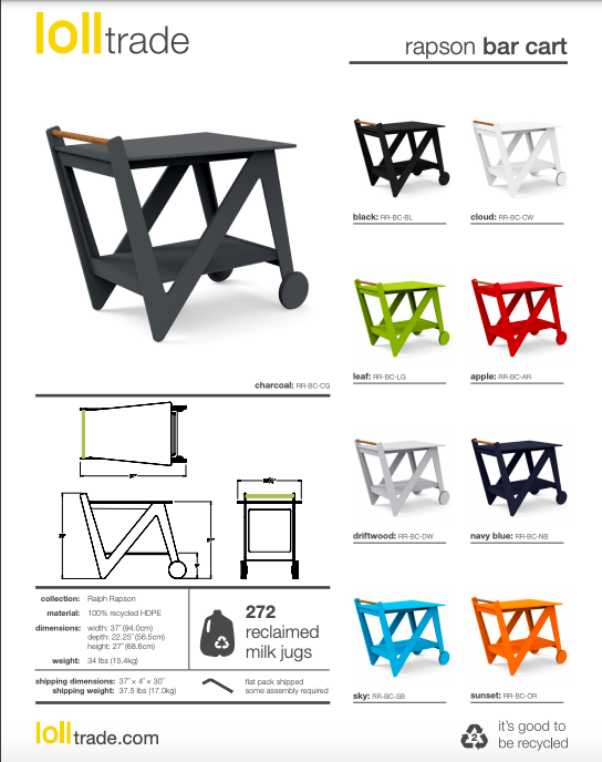 Loll Designs Rapson Bar Cart Cut Sheet