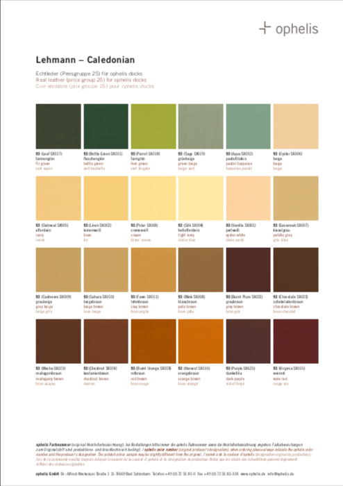 Ophelis Leather Finishes Guide