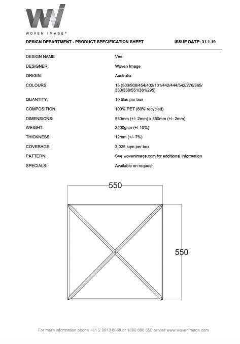 EchoPanel Vee tile Product specification