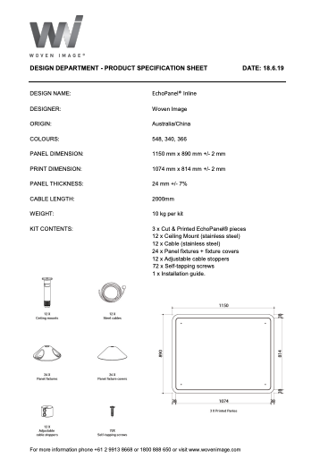 Echopanel Inline Product Specification
