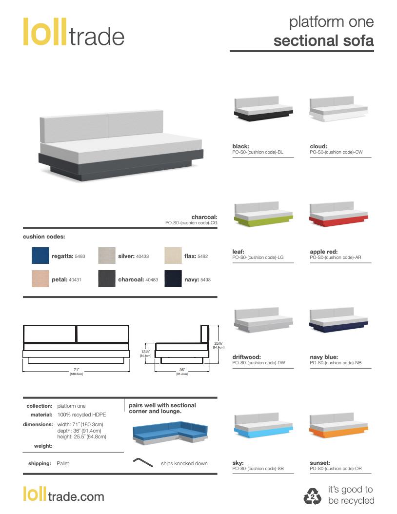 Loll Design Platform One Sectional sofa cut sheet